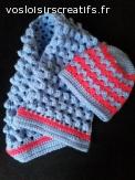 Ensemble bonnet bébé et écharpe en laine fait main au croche