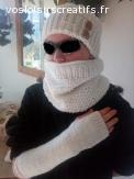 Ensemble Bonnet Tour de Cou et Mitaines tricoté main