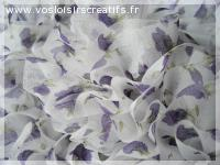 Foulard ou Echarpe en tulle blanc petites fleurs violettes