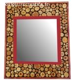 Grand miroir rectangulaire en rondin de bois couleur acajou