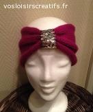 Headband en laine fuchsia avec paillettes argentées