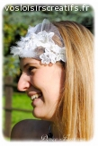 Headband mariée dentelle plume strass fait main