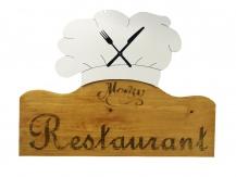 Horloge restaurant toque de chef mdf