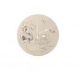 "Horloge ronde en bois ""japon koï et lotus"""