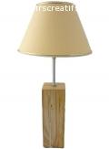 Lampe De Table 56 Cm, Bois Noble : Frêne, Bouleau Marbré