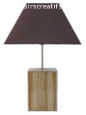 Lampe De Table 63 Cm, Bois Noble : Châtaignier, Chêne, Noyer