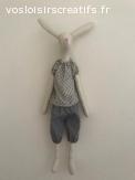 Lapin poupée Tilda hauteur 54 cm