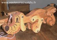 Le chien Pluto, jouets en bois, création artisanale.
