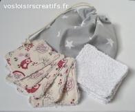 Lingettes démaquillantes lavables visage Hibou + Sac lavage