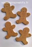 Lot de 4 supports à décorer en forme de bonhomme en pain d'é