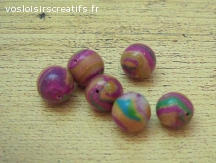 Lot de 6 perles pourpres, en fimo, 10 mm de diamètre.