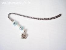 Marque pages argent tibétain - Fleur et perles bleues