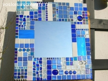 Miroir mosaique Bleu
