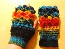 Mitaines multicolores laine vierge tricotées main
