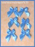 Noeuds en ruban satin bleu strass pieds ours (6p)