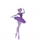Pancarte mural / porte  bois Danseuse étoile violet 40x20 cm