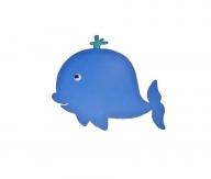 Pancarte mural / porte en bois petite baleine bleu 21x22 cm