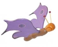 Papillon violet électrique sculpture en bois