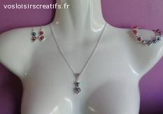 Parure perles carrées et perles rondes marbrées