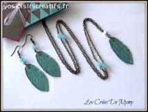 Parure sautoir ,boucles d'oreille feuille perle de jade