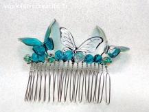 Peigne à chignon papillon bleu éméraude