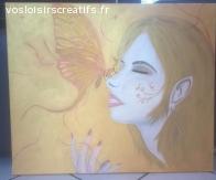 """Peinture """"L'Elfe et le papillon"""""""