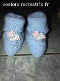 Petits chaussons bleus avec décoration - taille 0/3mois -