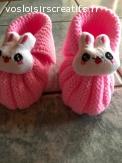 Petits chaussons roses avec décoration - taille 0/3mois -