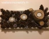 plateau avce pommes de pin, bougies et guirlande lumineuse