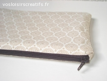 Pochette de sac ou trousse multi-usage - Cercles beige