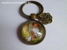porte clé argent ou bronze cabochon