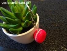 porte clé macaron, fuchsia et rose