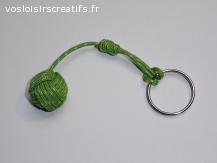 Porte clés - Pomme de touline verte + anneau