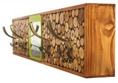 Porte-manteaux rondin de bois 4 patères  et miroir 97x20 cm