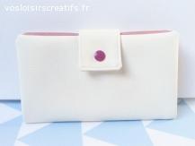 Portefeuille - Porte chéquier en simili-cuir écru