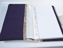 Portefeuille - Porte chéquier imitation cuir écru et liberty