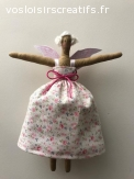 Poupée ange Tilda hauteur 16 cm tissu liberty