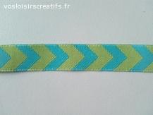 Ruban tissé Jacquard motifs chevron géométriques en 15mm