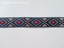 Ruban tissé Jacquard motifs ethniques en 15mm