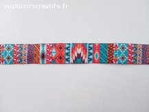 Ruban tissé Jacquard motifs ethniques géométriques en 15mm