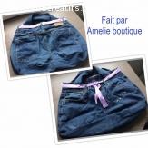Sac en jeans doublé violet avec strass