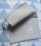 Sac pour lingerie ou pyjama en lin gris - Pochette Etoile