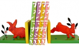 Serre-livres bois massif « Lapins »