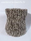 snood en laine acrylique marron-beige