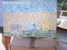 tres belle mosaique elephant girafe savane