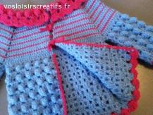 Veste en laine douce fait main au crochet