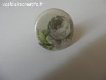 Bague fleur badge tissu 3cm