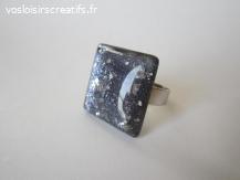 Bague Galaxie dôme verre bleu marine