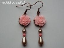 """Boucles d'oreille """"Les Roses"""" rose et filigrane"""