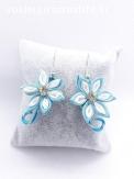 Boucles d'oreilles alu fleur satin turquoise